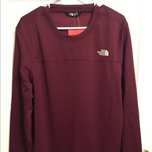 NWT The North Face men's deep red textured crew, L